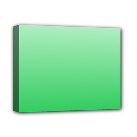 Pastel Green To Dark Pastel Green Gradient Deluxe Canvas 14  X 11  (framed)