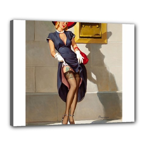 Retro Pin-up Girl Canvas 20  x 16  (Framed)