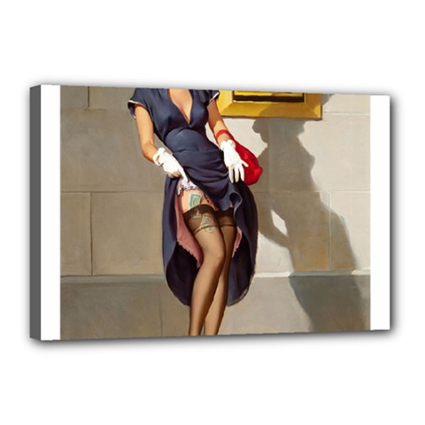 Retro Pin Up Girl Canvas 18  X 12  (framed)