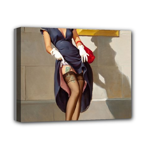 Retro Pin Up Girl Deluxe Canvas 14  X 11  (framed)