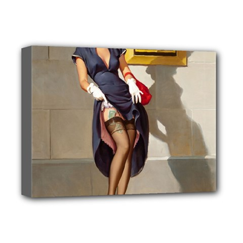 Retro Pin-up Girl Deluxe Canvas 16  x 12  (Framed)