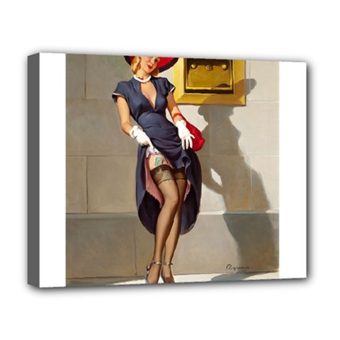 Retro Pin Up Girl Deluxe Canvas 20  X 16  (framed)