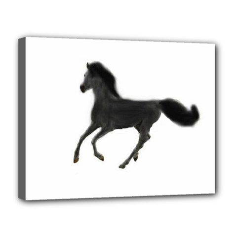 Running Horse Canvas 14  X 11  (framed)