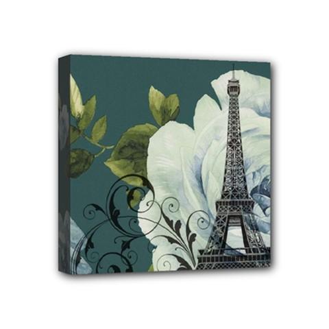 Blue Roses Vintage Paris Eiffel Tower Floral Fashion Decor Mini Canvas 4  X 4  (framed)