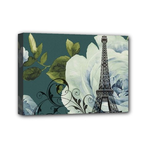 Blue roses vintage Paris Eiffel Tower floral fashion decor Mini Canvas 7  x 5  (Framed)