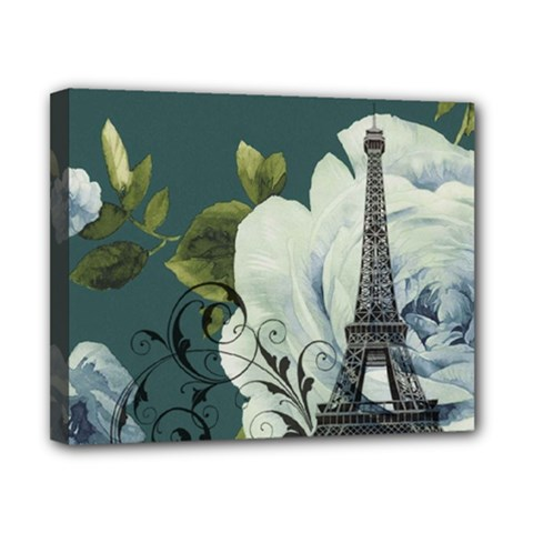 Blue roses vintage Paris Eiffel Tower floral fashion decor Canvas 10  x 8  (Framed)
