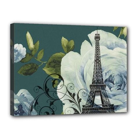 Blue Roses Vintage Paris Eiffel Tower Floral Fashion Decor Canvas 16  X 12  (framed)