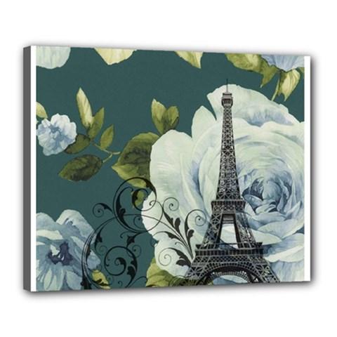 Blue Roses Vintage Paris Eiffel Tower Floral Fashion Decor Canvas 20  X 16  (framed)