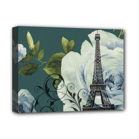 Blue roses vintage Paris Eiffel Tower floral fashion decor Deluxe Canvas 16  x 12  (Framed)