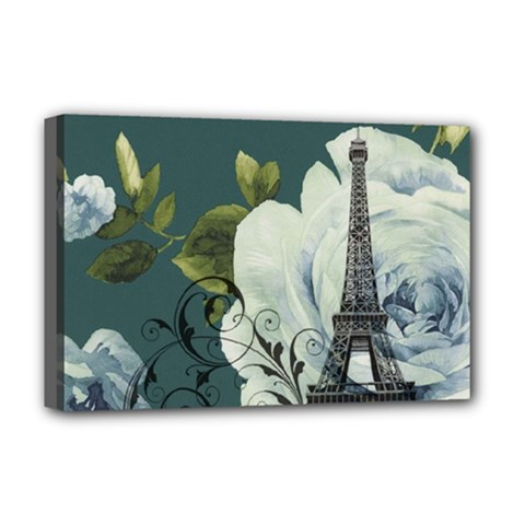 Blue roses vintage Paris Eiffel Tower floral fashion decor Deluxe Canvas 18  x 12  (Framed)