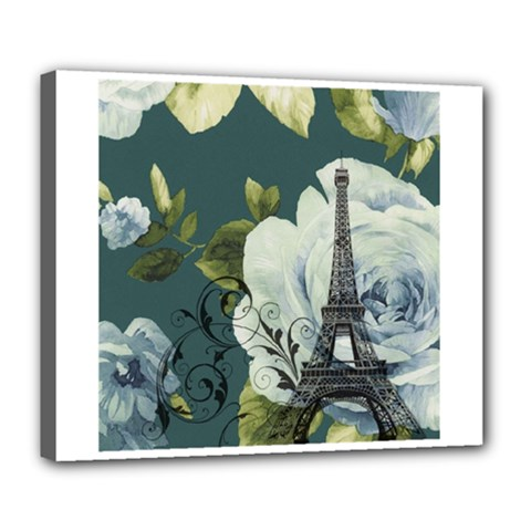 Blue roses vintage Paris Eiffel Tower floral fashion decor Deluxe Canvas 24  x 20  (Framed)
