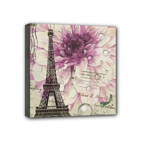 Purple Floral Vintage Paris Eiffel Tower Art Mini Canvas 4  x 4  (Framed)