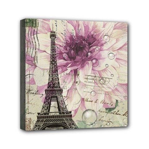Purple Floral Vintage Paris Eiffel Tower Art Mini Canvas 6  x 6  (Framed)