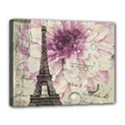 Purple Floral Vintage Paris Eiffel Tower Art Canvas 14  x 11  (Framed) View1