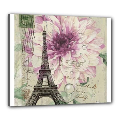 Purple Floral Vintage Paris Eiffel Tower Art Canvas 24  X 20  (framed)