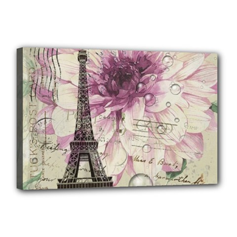 Purple Floral Vintage Paris Eiffel Tower Art Canvas 18  X 12  (framed)