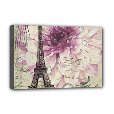 Purple Floral Vintage Paris Eiffel Tower Art Deluxe Canvas 18  x 12  (Framed)