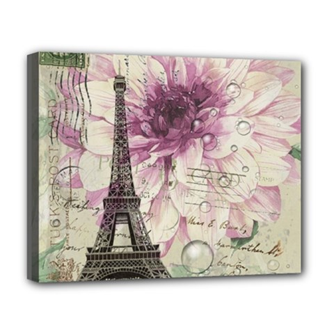 Purple Floral Vintage Paris Eiffel Tower Art Deluxe Canvas 20  x 16  (Framed)