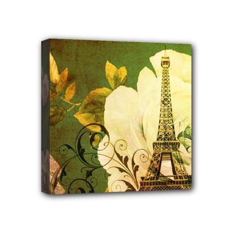 Floral Eiffel Tower Vintage French Paris Mini Canvas 4  x 4  (Framed)