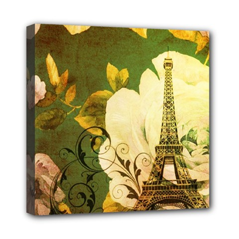 Floral Eiffel Tower Vintage French Paris Mini Canvas 8  X 8  (framed)
