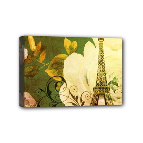 Floral Eiffel Tower Vintage French Paris Mini Canvas 6  X 4  (framed)