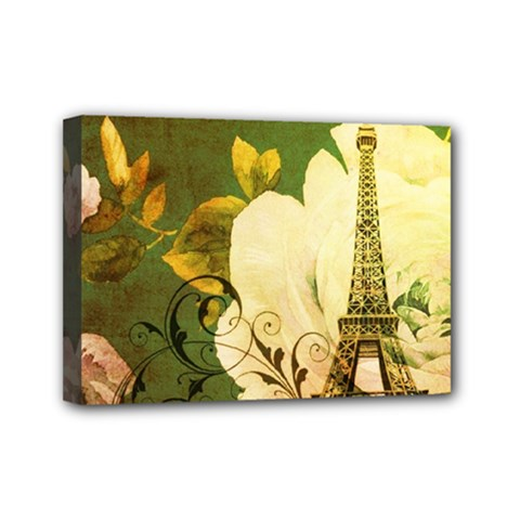 Floral Eiffel Tower Vintage French Paris Mini Canvas 7  X 5  (framed)