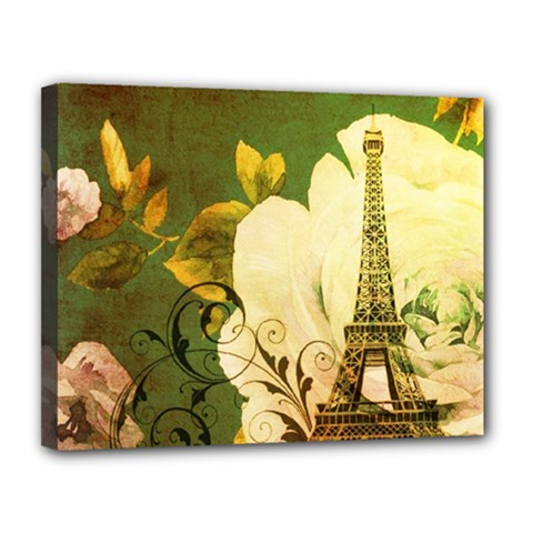 Floral Eiffel Tower Vintage French Paris Canvas 14  X 11  (framed)