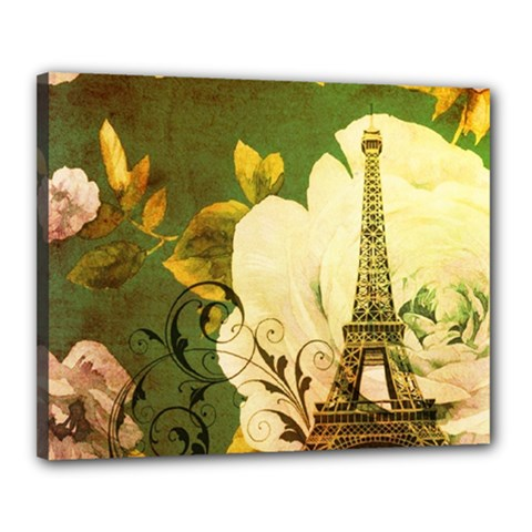 Floral Eiffel Tower Vintage French Paris Canvas 20  x 16  (Framed)