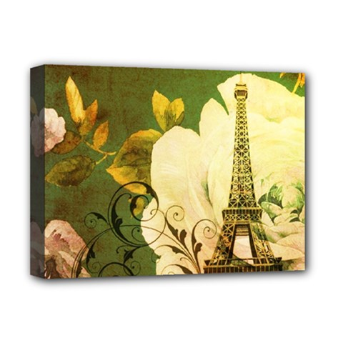 Floral Eiffel Tower Vintage French Paris Deluxe Canvas 16  x 12  (Framed)