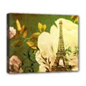 Floral Eiffel Tower Vintage French Paris Deluxe Canvas 20  x 16  (Framed) View1