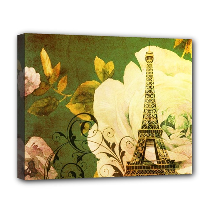 Floral Eiffel Tower Vintage French Paris Deluxe Canvas 20  x 16  (Framed)