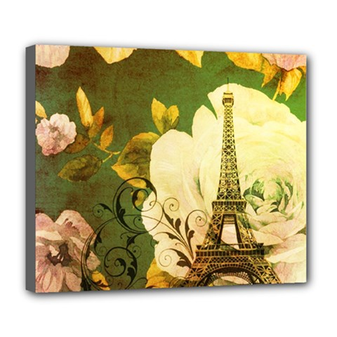 Floral Eiffel Tower Vintage French Paris Deluxe Canvas 24  x 20  (Framed)