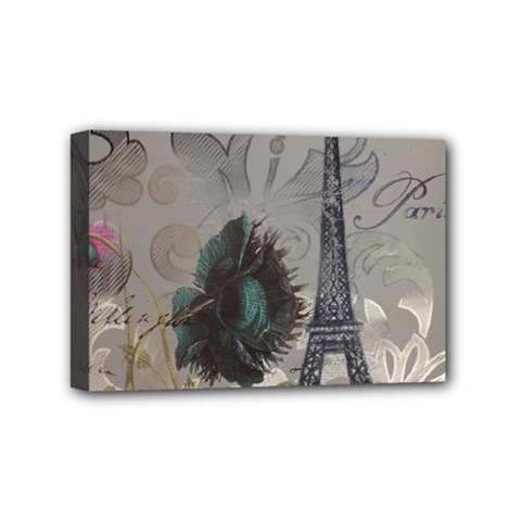 Floral Vintage Paris Eiffel Tower Art Mini Canvas 6  x 4  (Framed)