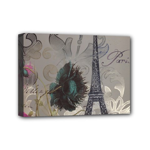 Floral Vintage Paris Eiffel Tower Art Mini Canvas 7  x 5  (Framed)