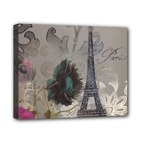 Floral Vintage Paris Eiffel Tower Art Canvas 10  x 8  (Framed)