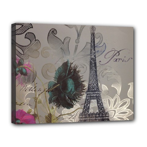 Floral Vintage Paris Eiffel Tower Art Canvas 14  X 11  (framed)
