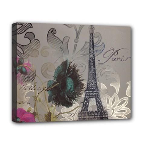 Floral Vintage Paris Eiffel Tower Art Deluxe Canvas 20  x 16  (Framed)