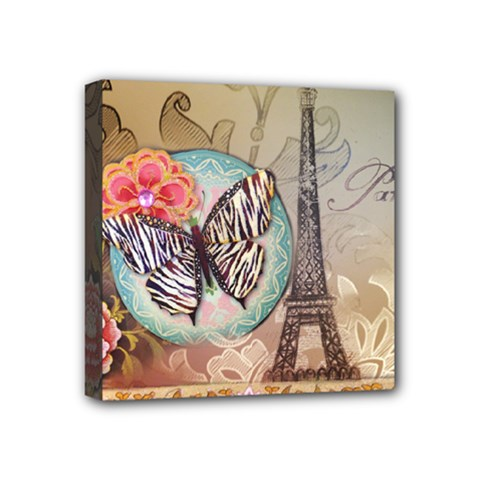 Fuschia Flowers Butterfly Eiffel Tower Vintage Paris Fashion Mini Canvas 4  x 4  (Framed)