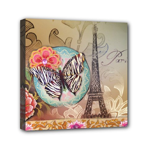 Fuschia Flowers Butterfly Eiffel Tower Vintage Paris Fashion Mini Canvas 6  x 6  (Framed)