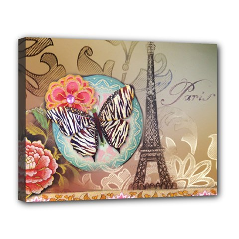 Fuschia Flowers Butterfly Eiffel Tower Vintage Paris Fashion Canvas 14  X 11  (framed)