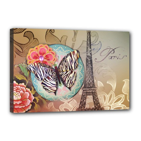 Fuschia Flowers Butterfly Eiffel Tower Vintage Paris Fashion Canvas 18  x 12  (Framed)
