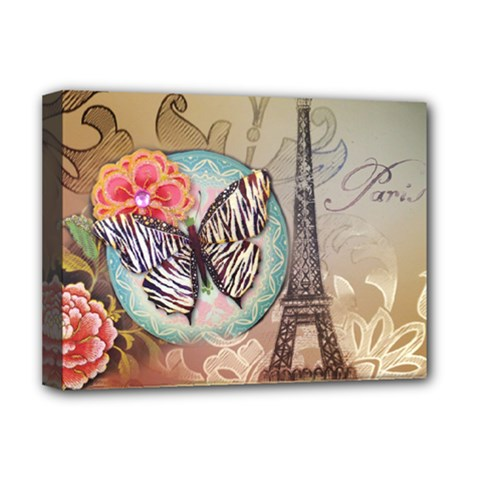 Fuschia Flowers Butterfly Eiffel Tower Vintage Paris Fashion Deluxe Canvas 16  x 12  (Framed)