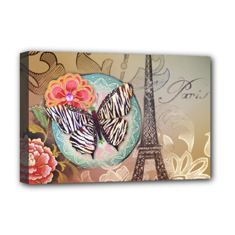 Fuschia Flowers Butterfly Eiffel Tower Vintage Paris Fashion Deluxe Canvas 18  x 12  (Framed)