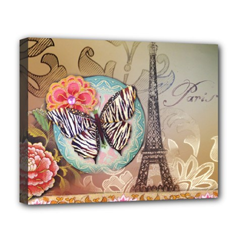 Fuschia Flowers Butterfly Eiffel Tower Vintage Paris Fashion Deluxe Canvas 20  x 16  (Framed)