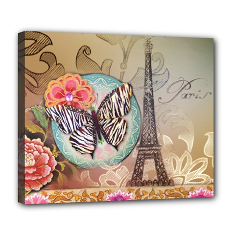 Fuschia Flowers Butterfly Eiffel Tower Vintage Paris Fashion Deluxe Canvas 24  x 20  (Framed)