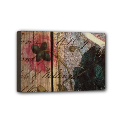 Vintage Bird Poppy Flower Botanical Art Mini Canvas 6  x 4  (Framed)
