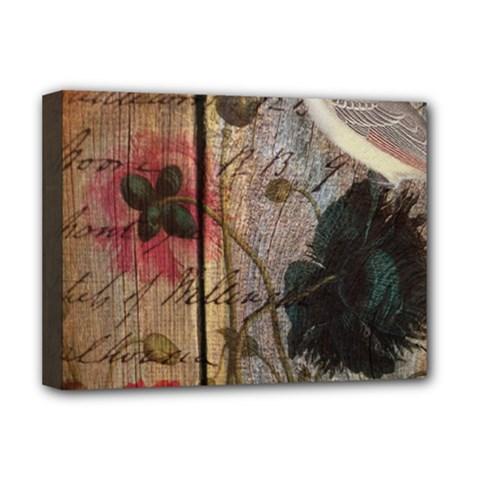 Vintage Bird Poppy Flower Botanical Art Deluxe Canvas 16  x 12  (Framed)