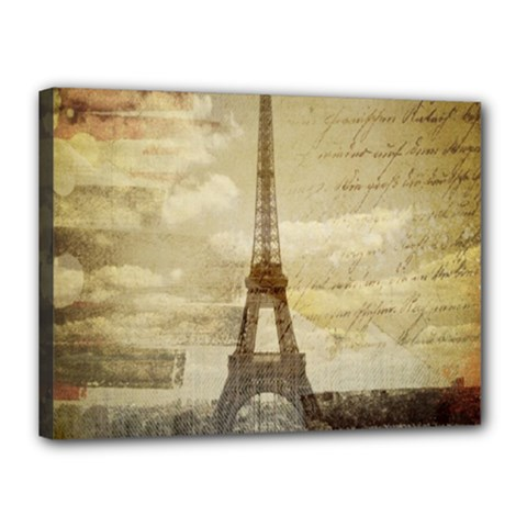 Elegant Vintage Paris Eiffel Tower Art Canvas 16  X 12  (framed)