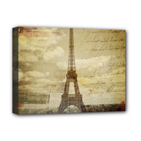 Elegant Vintage Paris Eiffel Tower Art Deluxe Canvas 16  X 12  (framed)
