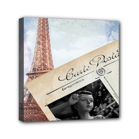 French Postcard Vintage Paris Eiffel Tower Mini Canvas 6  X 6  (framed)